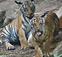 Stylized photo of Malayan tiger cubs. by NaturaLight