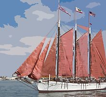 Stylized photo of the Tall Ship American Pride at the Festival of Sail in San Diego, CA US. by NaturaLight