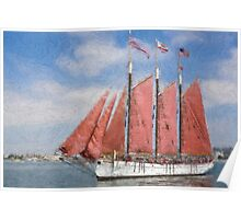 Impasto-stylized photo of the Tall Ship American Pride at the Festival of Sail in San Diego, CA US. Poster