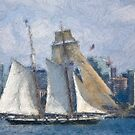 Stylized photo of San Diego Harbor & Tall Ship Californian. by NaturaLight