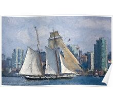 Stylized photo of San Diego Harbor & Tall Ship Californian. Poster