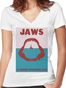 Jaws Minimalist Poster Women's Fitted V-Neck T-Shirt