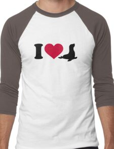 I love Seals Men's Baseball ¾ T-Shirt