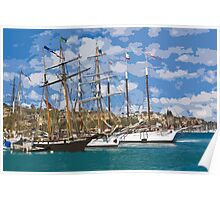 Stylized photo of theTall Ship Exy Johnson, Tall Ship Lynx, Tall Ship Irving Johnson, and Tall Ship American Pride in Dana Point Harbor, CA US. Poster