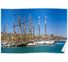 Impasto-stylized photo of the Tall Ship Exy Johnson, Tall Ship Lynx, Tall Ship Irving Johnson, and Tall Ship American Pride in Dana Point Harbor, CA US. Poster