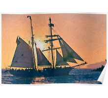 Impasto-stylized photo of the Tall Ship Exy Johnson off Dana Point, CA US. Poster