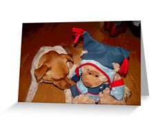 A Cowboys Dream, a dog, a teddy and a new Pair of Boots! Greeting Card