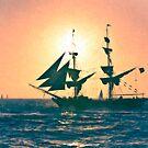 Stylized photo of the Tall Ship Exy Johnson off Dana Point, CA US. by NaturaLight