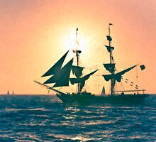Stylized photo of the Tall Ship Exy Johnson off Dana Point, CA US. by NaturaLight