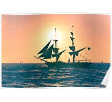 Stylized photo of the Tall Ship Exy Johnson off Dana Point, CA US. Poster