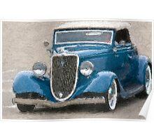 Stylized photo of a vintage Ford V8 hotrod. Poster