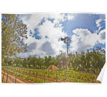 Stylized photo of the grape vinyard and windmill at the Rancho Bernardo Winery in San Diego, CA US.  Poster