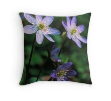 SHARP-LOBED HEPATICA* Throw Pillow