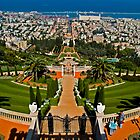 Ba'hai Gardens and Temple Flow Down to the Sea. by David Platt-Chance