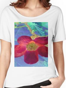 Wild Red Rose-Available As Art Prints-Mugs,Cases,Duvets,T Shirts,Stickers,etc Women's Relaxed Fit T-Shirt