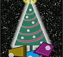 Christmas Tree & Gifts - Christmas Card by VincentThomas