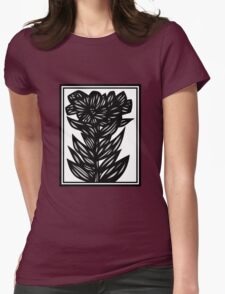 Arabesque Flowers Black and White Womens Fitted T-Shirt