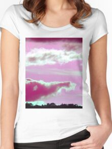 Pink Elephant Cloud-Available As Art Prints-Mugs,Cases,Duvets,T Shirts,Stickers,etc Women's Fitted Scoop T-Shirt