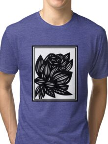 Succinct Flowers Black and White Tri-blend T-Shirt