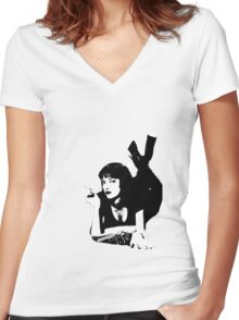 Pulp Fiction Mia Wallace Women's Fitted V-Neck T-Shirt