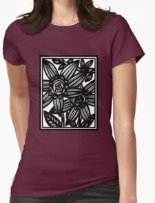 Bastille Flowers Black and White Womens Fitted T-Shirt