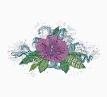hibiscus surf grape One Piece - Short Sleeve