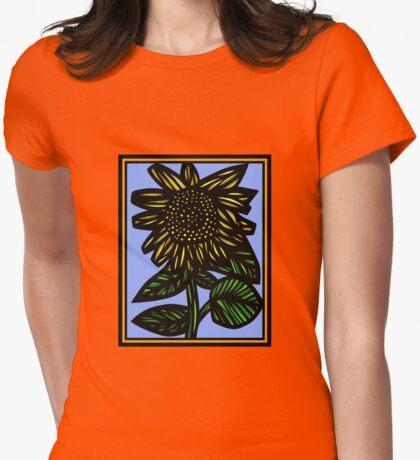Auburn Flowers Yellow Blue Green Womens Fitted T-Shirt