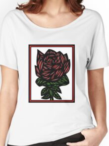 Litterateur Flowers Red Green White Women's Relaxed Fit T-Shirt