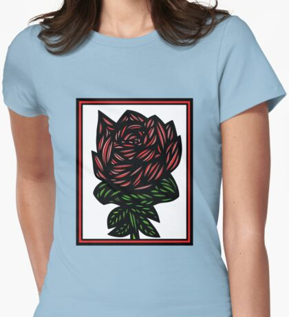 Litterateur Flowers Red Green White Womens Fitted T-Shirt