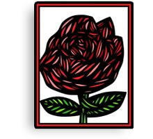Splice Flowers Red Green White Canvas Print