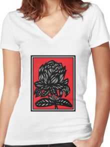 Myriad Flowers Red White Black Women's Fitted V-Neck T-Shirt
