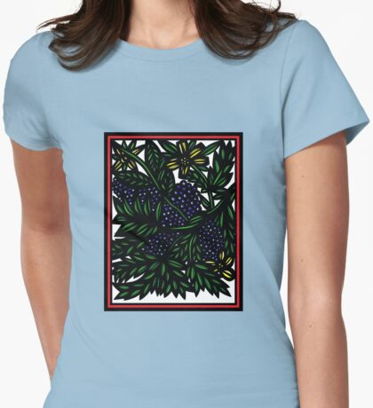 Esclavage Flowers Yellow Blue Green Womens Fitted T-Shirt