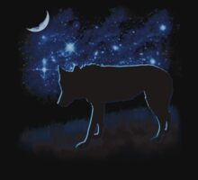 Wolf Stalking by Moonlight Kids Tee
