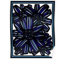 Elixir Flowers Blue White Black Poster