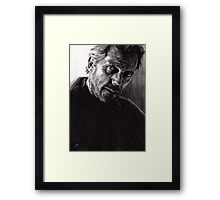 Il kill you... If you want me to - conté drawing Framed Print