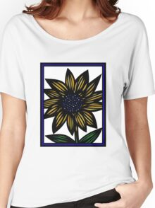 Cloister Flowers Blue Yellow White Women's Relaxed Fit T-Shirt