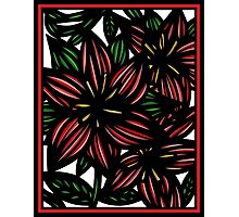 Ethereal Flowers Red Green White Photographic Print