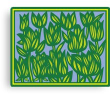 Epileptic Flowers Yellow Green Blue Canvas Print