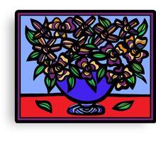 Emission Flowers Red Blue Canvas Print