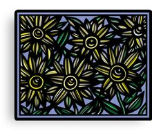Dissimulate Flowers Yellow Blue Black Canvas Print