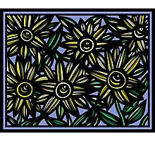 Dissimulate Flowers Yellow Blue Black Photographic Print