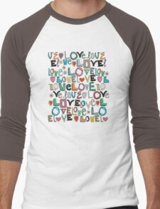 l o v e LOVE mocha Men's Baseball ¾ T-Shirt