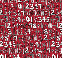math doodle red by Sharon Turner