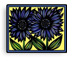 Saccharine Flowers Yellow Blue Green Canvas Print