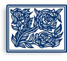 Labyrinthine Flowers Blue White Canvas Print
