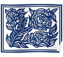 Labyrinthine Flowers Blue White Poster