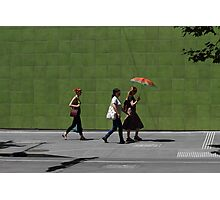 Red Hair Red Umbrella Green Wall Photographic Print