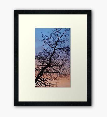 The blue sky over powerfull orange sunset Framed Print