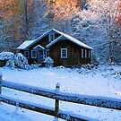 COTTAGE,AUTUMN SNOW by Chuck Wickham