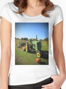 John Deere Tractor Harvest Time Photograph Women's Fitted Scoop T-Shirt
